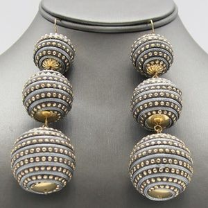 Jewelry - Gray and Gold Triple Thread Ball Earrings